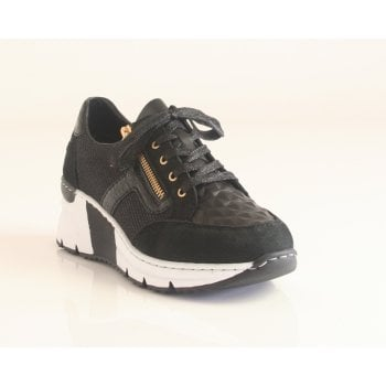 Rieker Ladies Black Lace and Zip-Up Trainer Wedged Sole (NT106)