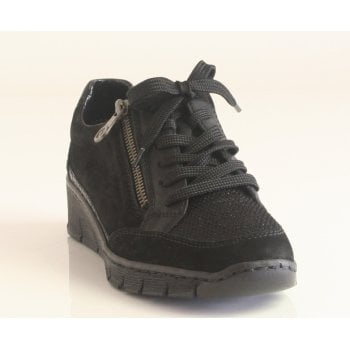 Rieker Ladies Black Lace and Zip-Up Trainer with Wedged Sole (NT102)
