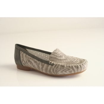 Rieker Rieker loafer in grey printed leather  (NT22)