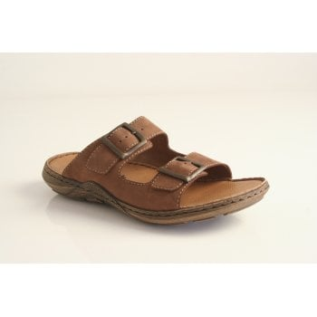 Rieker men's brown leather slip on sandal with two adjustable buckles