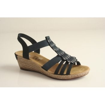 Rieker Navy sandal with elasticated straps (NT11)