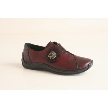 Rieker red leather shoe with velcro fastening   (NT55)