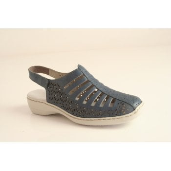 Rieker sandal in blue leather  (NT43)