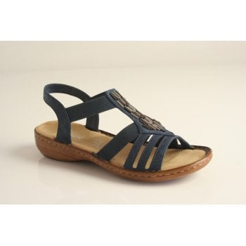 Rieker sandal in navy with metal trim and elasticated straps (NT 8)