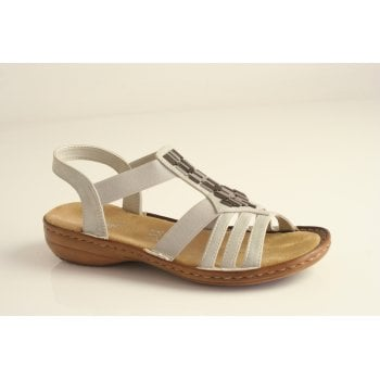 Rieker sandal in pale grey with metal trim and elasticated straps   (NT29)
