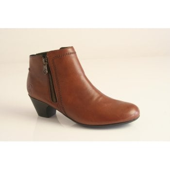 Rieker tan leather ankle boot with side zip  (NTB13)