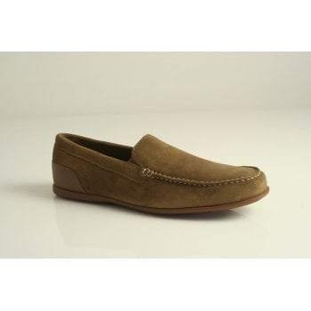 "Rockport style ""Malcom Venetian"" moccasin in tan suede leather  (NT78)"