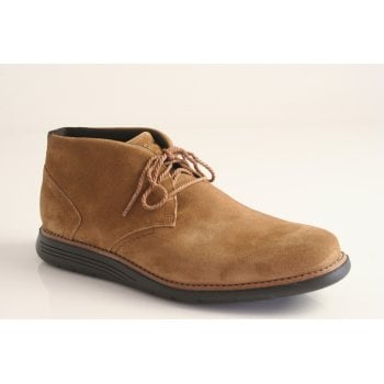 Rockport style 'TMSD Chukka' sand coloured suede lace up boot