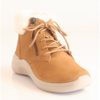 Skechers 'GoWalk' taupe lace-up waterproof ankle boot (NT69)