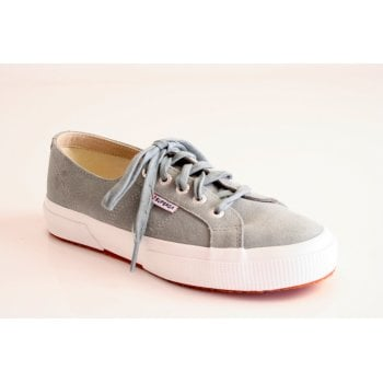 Superga style '2750' light grey nubuck leather canvas lace up