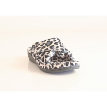 """Vionic slipper style """"Indulge Relax"""" in Cream and Blue Leopard Print (NT7)"""