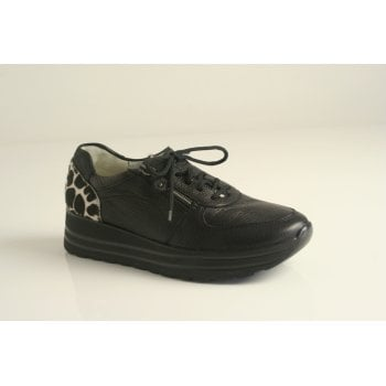 Waldlaufer black leather lace up with cow print detailing.  (NT36)
