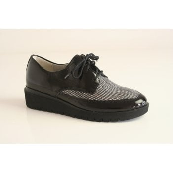 Waldlaufer black patent leather lace-up shoe (NT43)