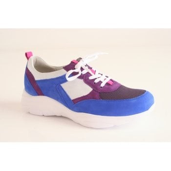 Waldlaufer blue and purple soft leather trainer-style lace up (NT30)