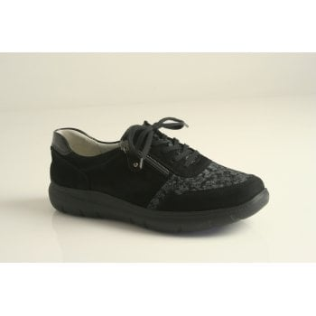 Waldlaufer style 'Leonie' black suede leather lace up (NT35)