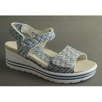 Waldlaufer style 'Michelle' Wedge Sandal in Embosed Blue Leather (NT 55)